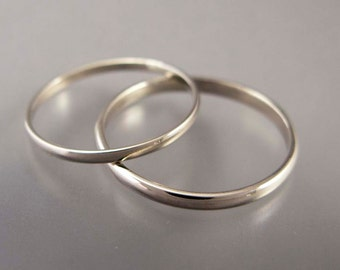 Thin White Gold Wedding Band Set - 1.5 and 2mm Wide His and Hers Half Round Wedding Bands in 14k Gold - The Minimalist