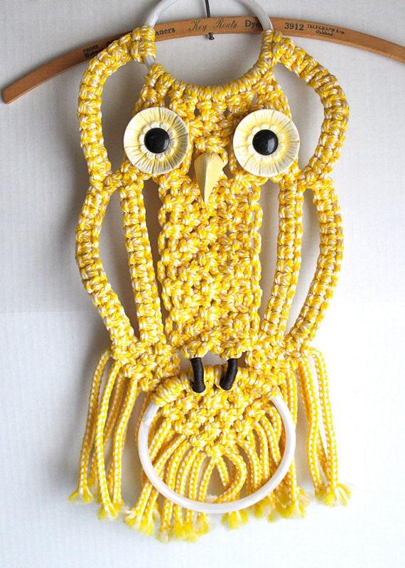 Vintage Macrame Owl Towel Rack Yellow Wall Hanging