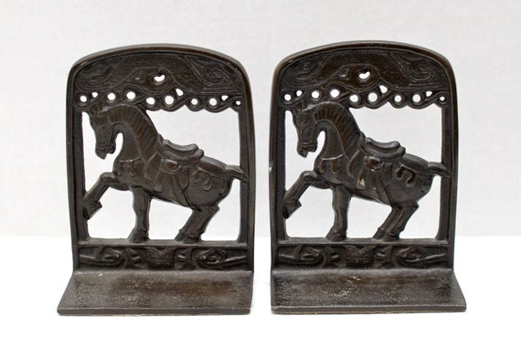 vintage fancy prancing horse with saddle framed bookends // metal pair
