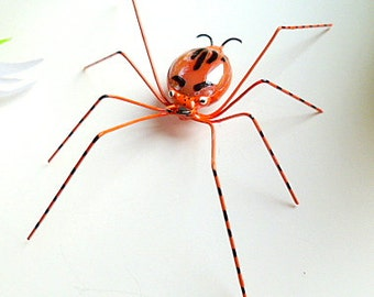Medium Handmade Orange Spider With Black Perfect for the Entomologist and Bug Lover