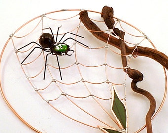 Small Round Spider Web with Spider Driftwood and Wire Spider Web Wire Art Garden Display Patio Art Gift to Welcome Spring One of a Kind Web