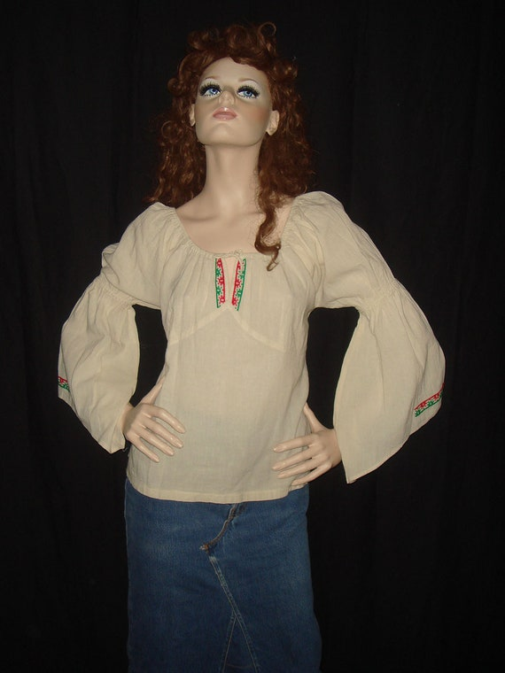 Vintage 70s Mexican Embroidered Boho Bell Sleeve Hippie Top - S M