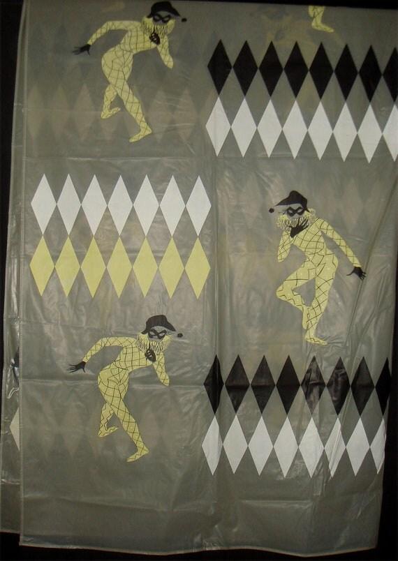 Vintage Jester Shower Curtain Set 1960s Mid Century