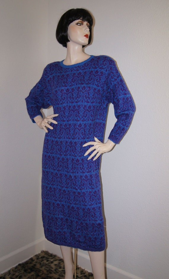 Vintage Benetton 1980s Sweater Dress / 80s Cobalt Blue Slouchy Wool