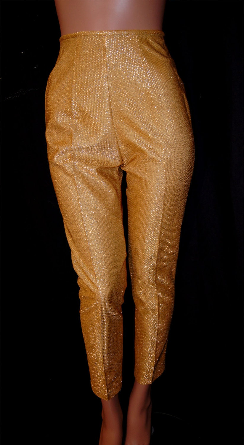 Vintage 1960s Gold Lame Capri Pants / High Waisted VLV