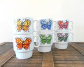 set of six mod style ceramic butterfly coffee mugs - colorful - bright - 1960s
