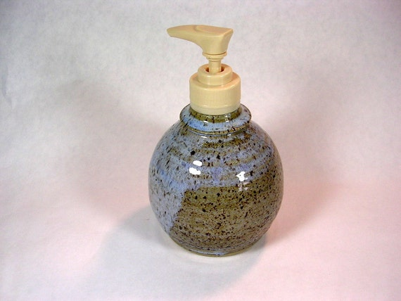 Soap pump dispenser ceramic lotion pump blue gray glaze