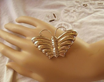 Vintage Sterling Silver Butterfly Brooch Pin