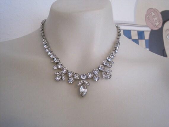 Vintage Weiss Austrian Rhinestone Marquise Round Drop Necklace Bride Bridal Wedding