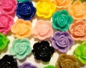 50pcs Resin Sakura Flower Cabochon mixed colors 15mm (no hole)