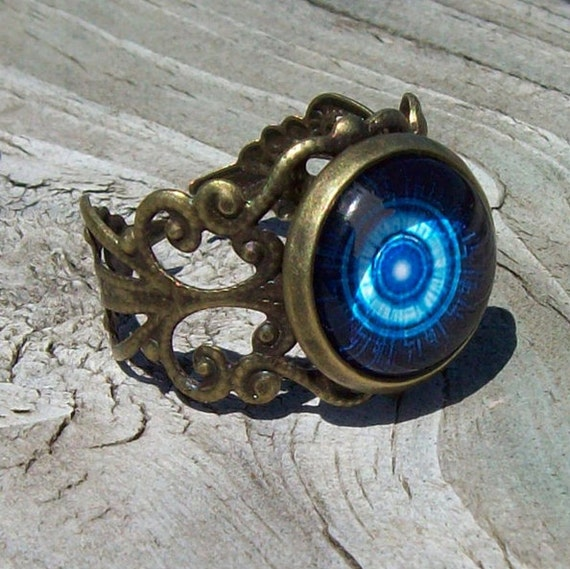 Fortune Teller Eye - Gypsy - Bronze Lace Band Adjustable Ring