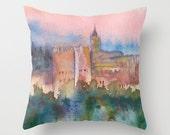 Alhambra de Granada Watercolor Art Throw Pillow Cover