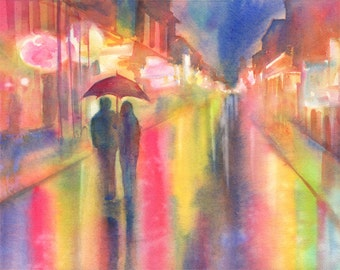 Rainy Night in New Orleans Romantic Watercolor Signed Fine Art Giclee Print