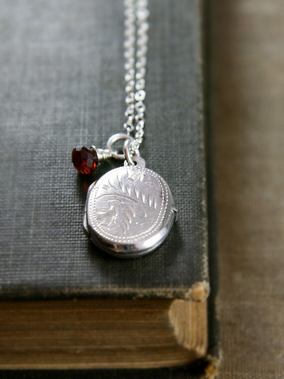 Small Sterling Silver Locket Necklace, Vintage Oval Pendant Wire Wrapped Garnet Gemstone Jewelry