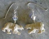 Polar Bear Earrings with Swarovski Crystals