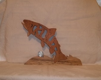"Wooden ""Trout"" Word Puzzle Cherry Hardwood"
