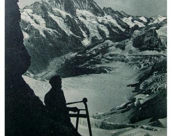 Eismeer Station, Jungfraubahn Railway, Switzerland - Antique Postcard
