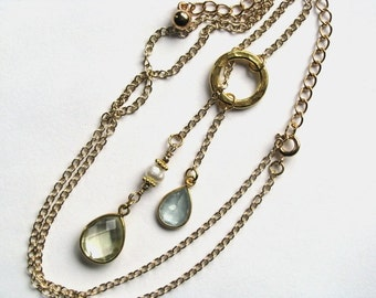 Gold Lariat Necklace with Steely Blue Moss Aquamarine Vermeil Bezel and Lemon Quartz Vermeil Bezel