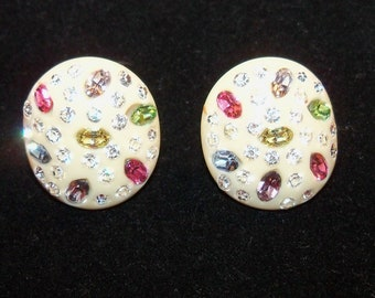 Vintage Signed Weiss Celluloid Clip-on Earrings with Pastel Rhinestones
