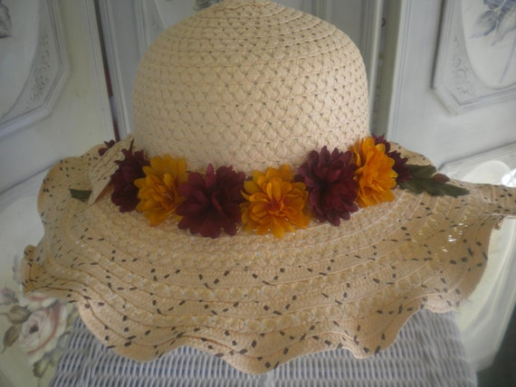Neutral straw hat - Fall floral hat - Womens straw hat - Hat with bow - sunhat - Garden hat - ladies straw hat