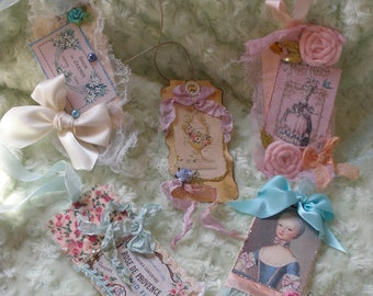 Marie Antionette Versaille Set of Five Glittered Pastel Shabby Chic Gift Hang Tags with Ribbons and Roses