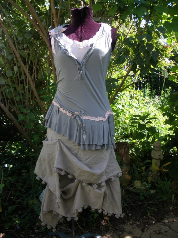 Romany Lost Gypsy Style Ragdoll Dress in Shades of Grey with Pink Accents