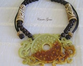 Cow Bone with Jade Necklace