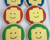 Lego Man Birthday Party Sugar Cookie Favors Legos Boy Red Blue Yellow Green