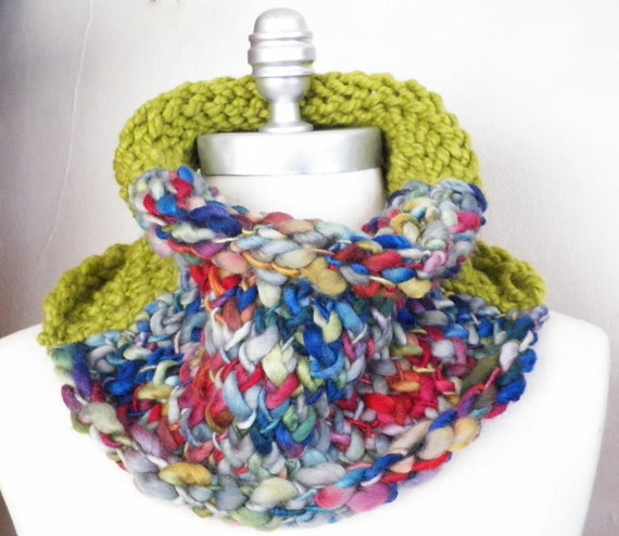 Colorful Cowl, Fall Knitwear,Chunky Knit, Wool and Wool Blend with Lemongrass, Indigo, Cranberry