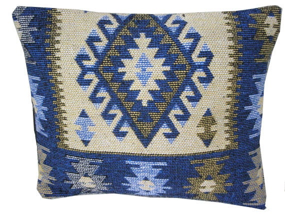 Multi-coloured decorative hand woven Turkish kilim pillow cover - pillow case