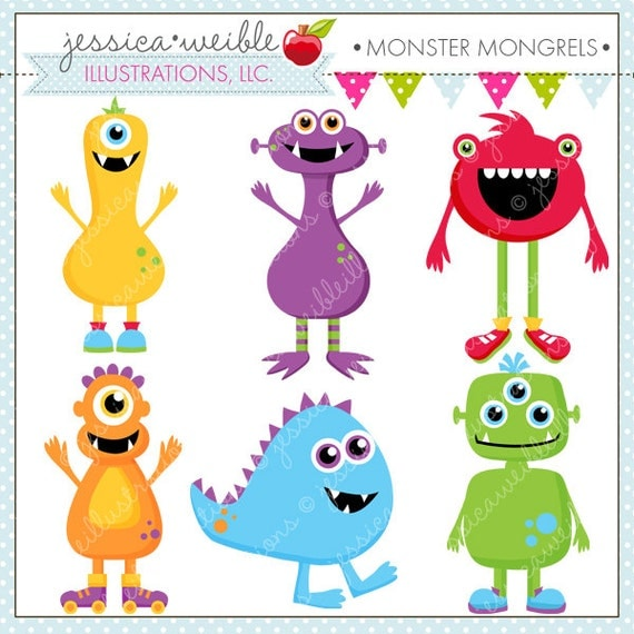 monster mongrels cute digital clipart for card design. Black Bedroom Furniture Sets. Home Design Ideas