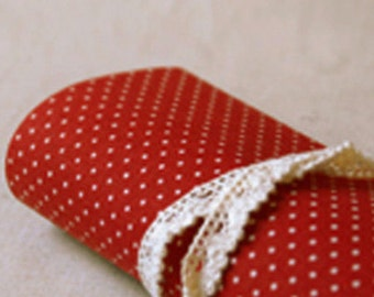 Gorgeous Linen Polka Dot Reform Fabric Sticker - Red (A4)