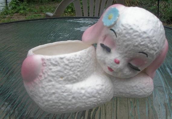 Vintage Sleeping Lamb Planter Gift Craft