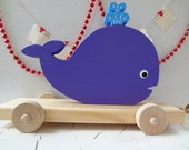 Whale Wood Pull ToY - Pisces - Purple - Baby and Toddler Toy - 7.5 in tall by 10 in long - Photo Prop - Made to Order