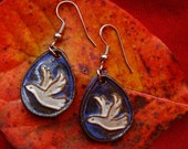 White Doves, Stoneware Earrings