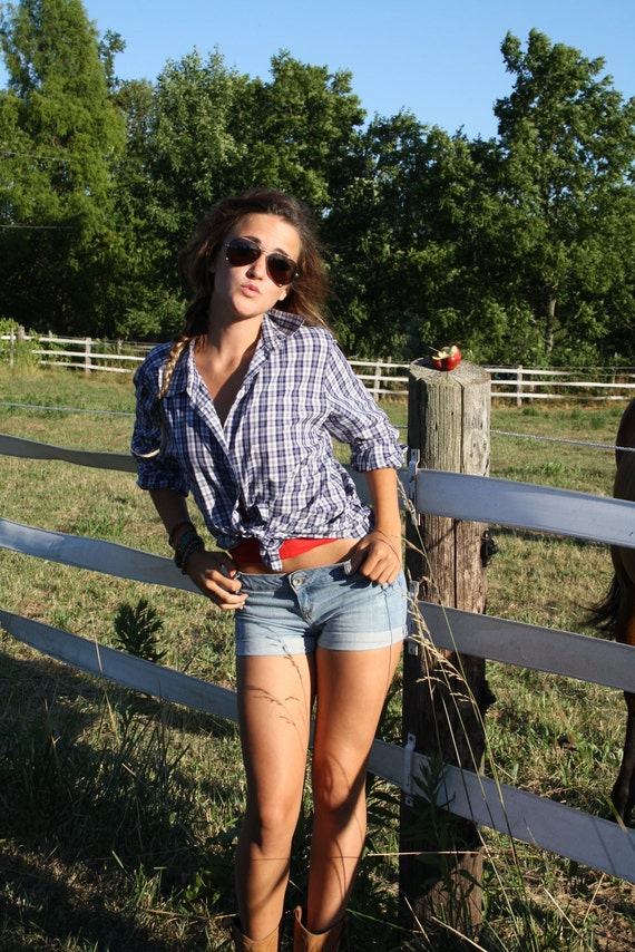 70s Blue Plaid Farmer Shirt Country Western By
