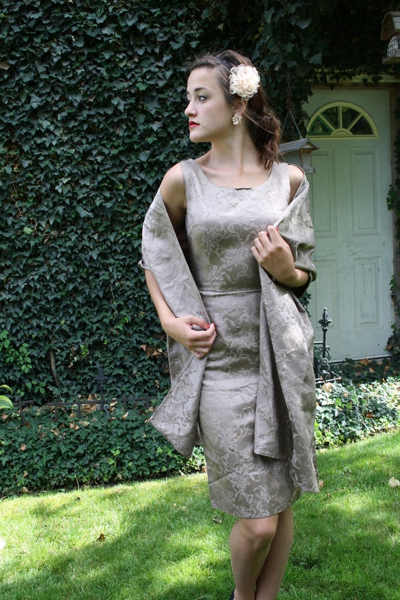 50s wiggle dress brocade mocha taupe mad men satin cocktail size x small