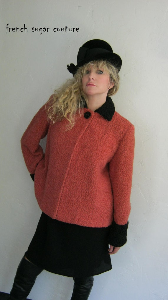 Vintage 1940's Raspberry Colored Wool Swing Jacket with Black Persian Lamb Collar and Cuffs