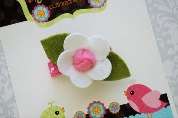 Felt Flower Hair Clip in White and Pink - Flower Hair Clips