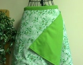 Wrap Skirt Reversible Green Floral Medium CLEARANCE