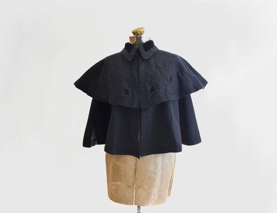 antique Victorian wool & velvet cape - Art Nouveau embroidery - 1890s coat - one size fits most