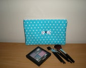 Makeup/cosmetic/pencil case pouch Aqua bluewhite polka dots with contrasting lining and bow tie