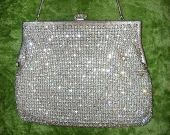Vintage Solid prong-set Rhinestone Evening Purse