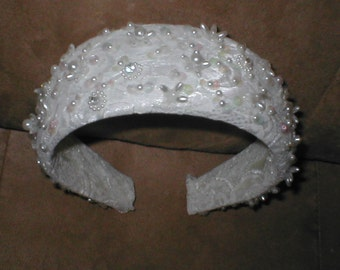 Vintage Beaded Bridal Headpiece white or ivory
