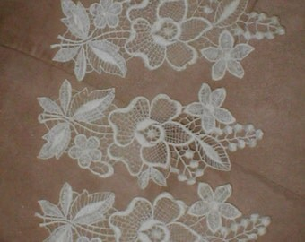 lot of 3 Large IVORY cotton Venice Lace Appliques