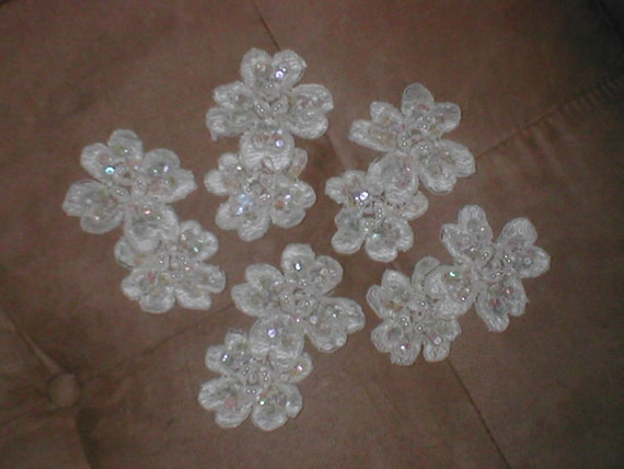 Vintage Beaded Ivory Lace Appliques