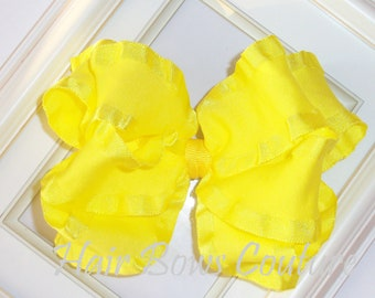Large Yellow Double Ruffle Double Layered  Hairbows Hair bows  Fancy Stacked  Hairbows Toddlers Girls Photo Prop