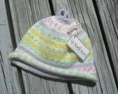 Hand Knit Baby Hat, Multicolor Baby Hat