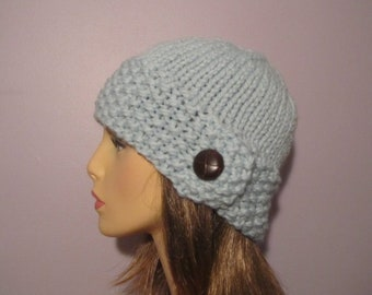 Blue or Pick Your Color Knit Hat with Genuine Leather Button