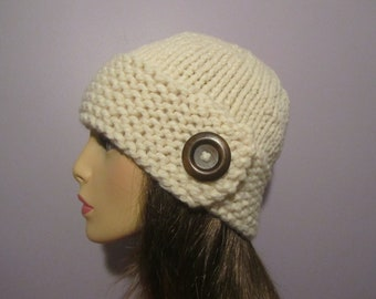 Knit Hat - White Chunky Hand Knit Hat with Dark Brown Button